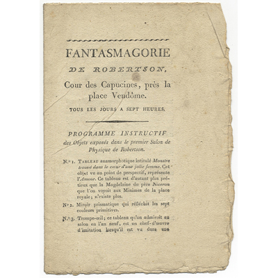 LIVRE vers 1800.     « FANTASMAGORIE de ROBERTSON », France